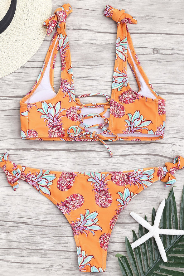 E&C Orange Scoop Neck Pineapple Print Strappy Lace Up Tied Side Sexy Two Piece Cheeky Bikini Swimsuit