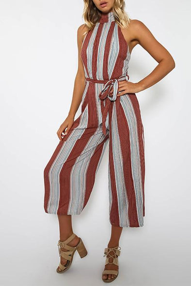Sexy Women's Belt Sleeveless Wide Leg Pants Striped Jumpsuit