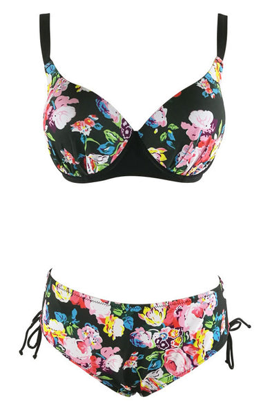 E&C Black Push Up Side Tie Floral Print High Waisted Sexy Bikini Set