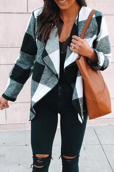 Casual Lapel Check Long Sleeve Jacket