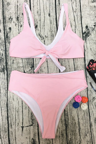 E&C Pink Scoop Front Tie Knotted High Cut Sexy Bikini Swimsuit