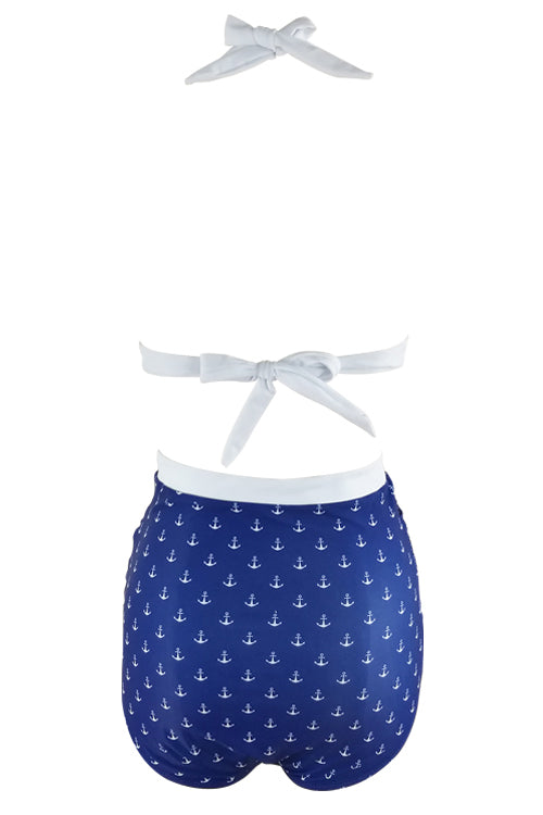 E&C Blue White Print Two Tone Padded Halter High Waisted Ruched Retro Bikini Swimsuit