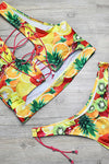 E&C Yellow Green Strappy Criss Cross Side Tie High Cut Cheeky Two Piece Swimsuit