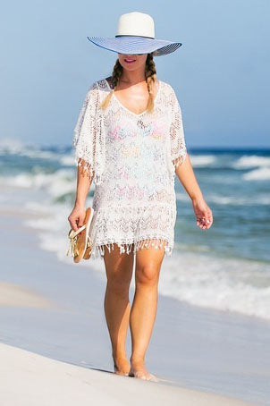 E&C White Crochet Hollow Out Tassel V Neck Sexy Beach Cover Up Tunic