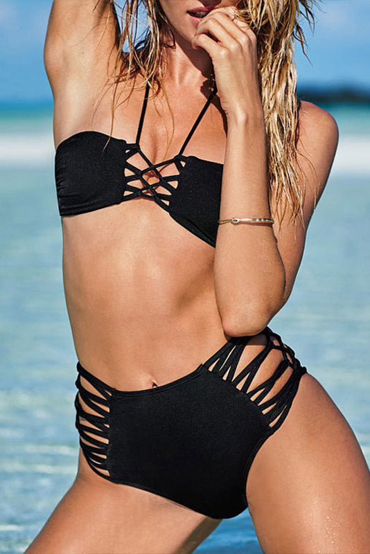 E&C Black Strappy Caged Crisscross Halter High Waisted Sexy Bikini Swimsuit