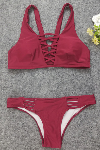 08f51265d0482 E C Dark Red Burgundy Strappy Crisscross Sexy Two Piece Swimsuit