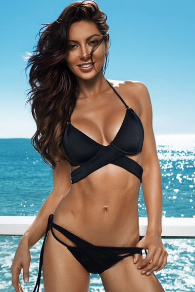 E&C Black Triangle Halter Wrap Around Strappy Tied Side Push Up Sexy Two Piece Cheeky Bikini Swimsuit