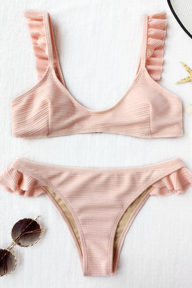 E&C Light Pink Textured Scoop Neck Ruffled Trim Cute Two Piece Brazilian Bikini Swimsuit