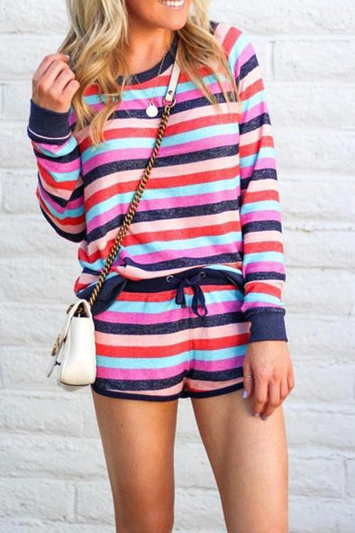 Striped Multicolor Shorts Set Two-piece