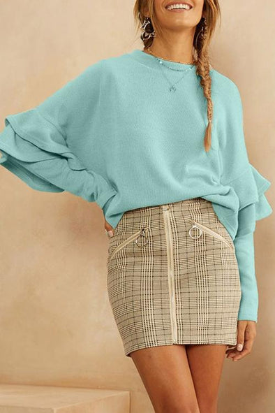 Candy-colored Bat Long Sleeve Sweater