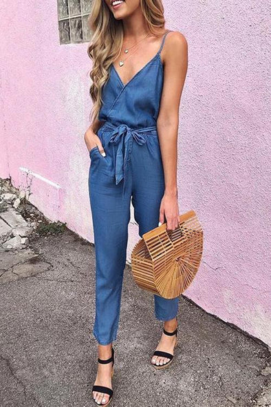 Sling Denim Jumpsuit (With Belt)