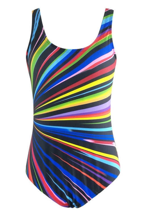 E&C Black Scoop Neck Rainbow Stripe Print Backless Modest One Piece Swimsuit