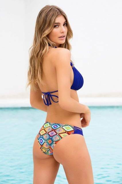E&C Blue Tribal Print Halter Braided Brazilian Sexy Bikini Swimsuit