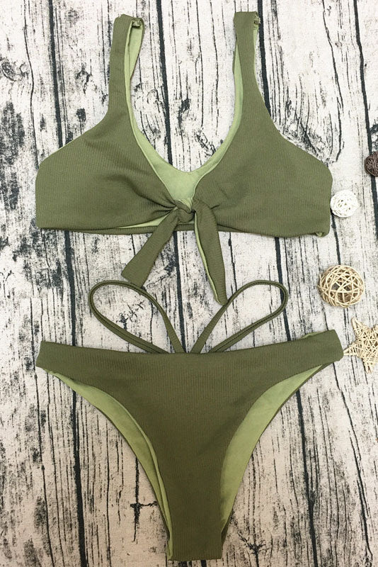E&C Army Green Scoop Neck Front Tie Strappy High Cut Sexy Bikini Swimsuit