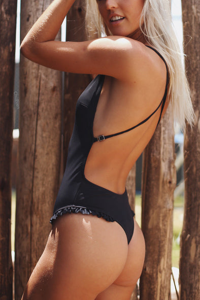 E&C Black Plunge Open Back Ruffle Trim High Cut Thong Sexy One Piece Swimsuit