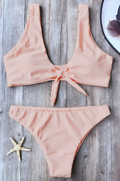 E&C Pink Knotted Cheeky Sexy Two Piece Bikini Swimsuit