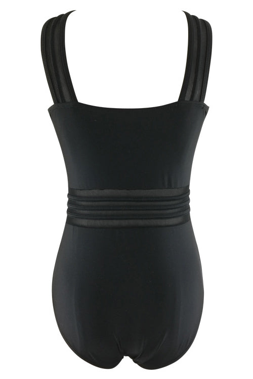 E&C Black High Neck Mesh Sexy One Piece Swimsuit