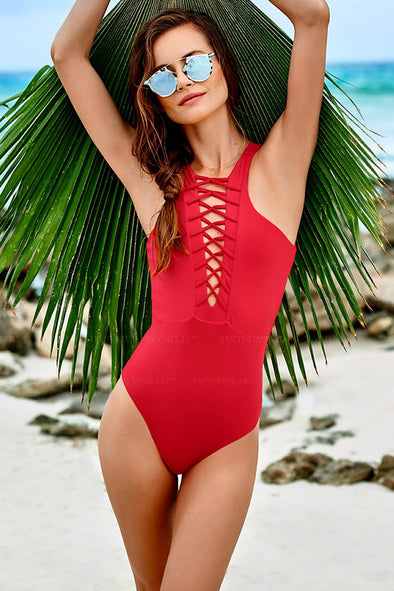 E&C Red Strappy Caged Backless Sexy One Piece Swimsuit