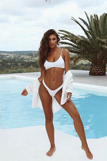 E&C White High Cut Cheeky Sexy Bikini Swimsuit