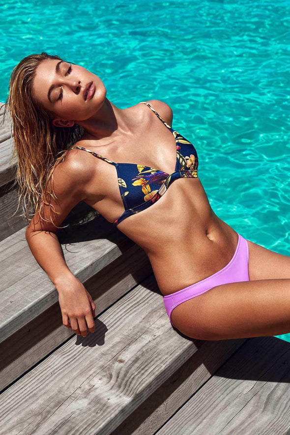 E&C Purple Floral Print Triangle Sexy Two Piece Bikini Swimsuit