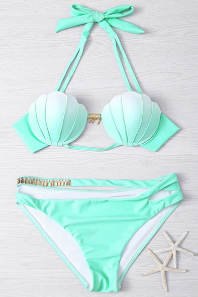 E&C Light Green Halter Cutout Mermaid Seashell Top Bikini Sexy Swimsuit