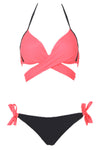 E&C Watermelon Wrap Around Side Tie Halter Sexy Bikini Bathing Suit