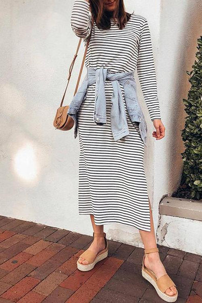 Casual Long Sleeves Striped Dress