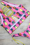 E&C Pink Strappy Pineapple Print Side Tie High Cut Cheeky Two Piece Swimsuit