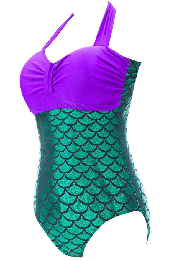 PLUS SIZE MERMAID HALTER BANDEAU ONE PIECE SWIMSUIT