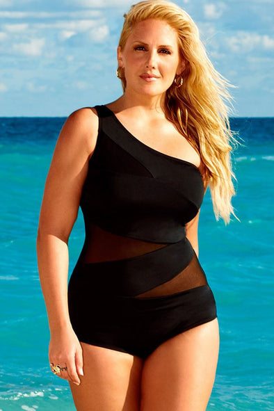 PLUS SIZE MESH INSERT ONE SHOULDER ONE PIECE SWIMSUIT