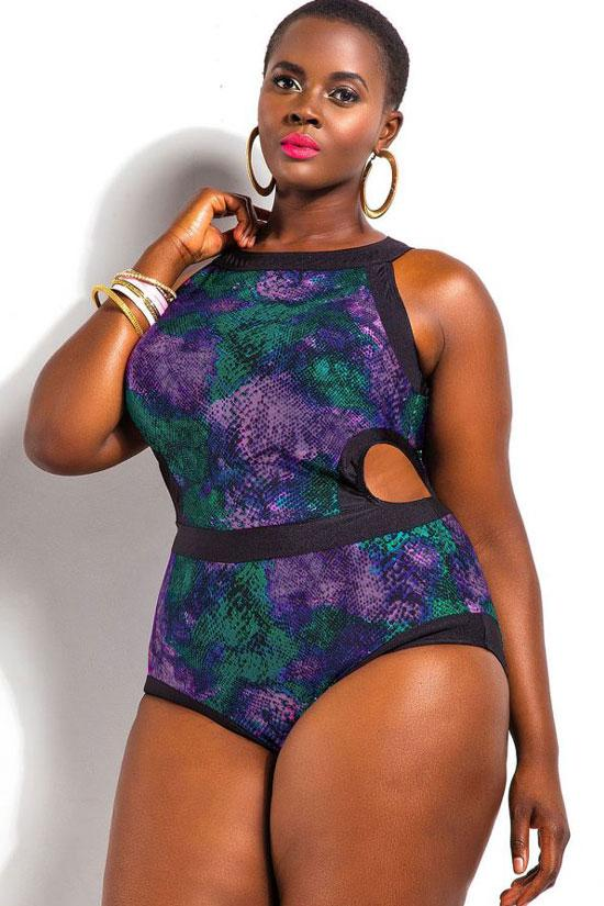 PLUS SIZE COLORFUL SNAKE PRINTED CUTOUT ONE PIECE SWIMSUIT
