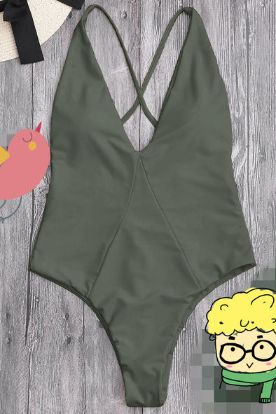 E&C Army Green Plunge V Neck High Cut Cross Back Sexy One Piece Swimsuit