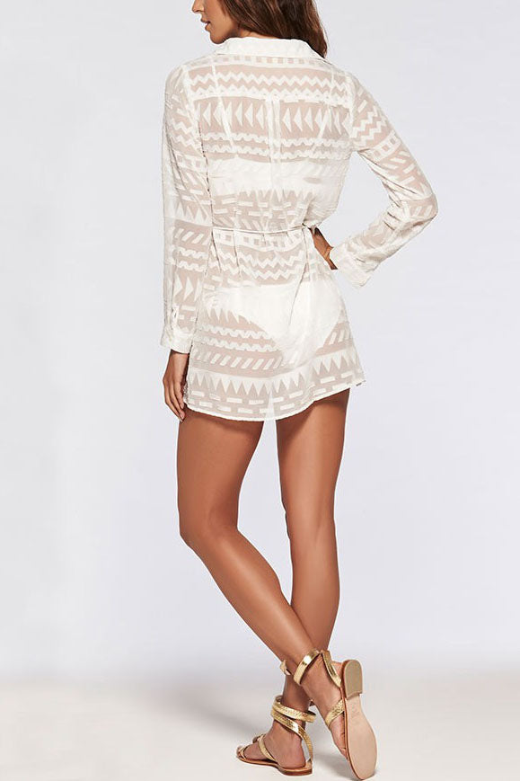 E&C White Sheer Lapel Long Sleeve Beach Bathing Suit Cover Up Tunic