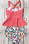 E&C Watermelon Dasiy Print Scalloped Hem High Waisted Peplum Cute Tankini Swimsuit