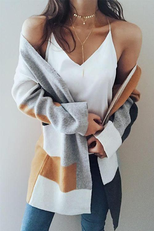 Fashion Knit Multi color Long Sleeve Cardigan