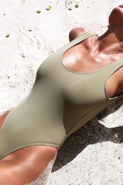 E&C Army Green Shaping Scoop Low Back High Cut Sexy One Piece Swimsuit