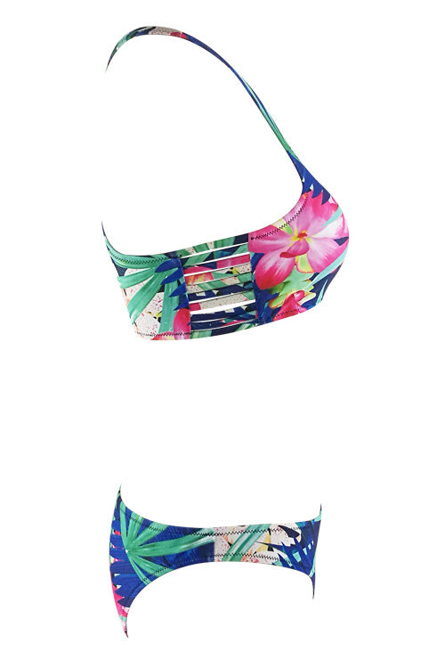 E&C Black Strappy Caged Floral Leaf Print High Neck Sexy Bikini Set Swimsuit