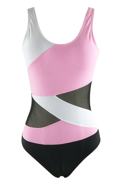 E&C Pink Scoop Neck Color Block Mesh Backless Sexy One Piece Swimsuit