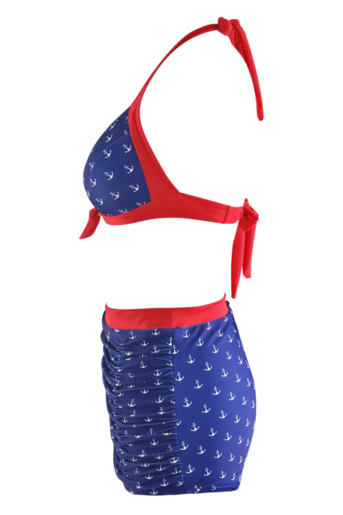 E&C Blue Red Print Two Tone Padded Halter High Waisted Ruched Retro Bikini Swimsuit