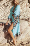 E&C Light Blue Tribal Print Long Sexy Kimono Beach Cover Up Cardigan