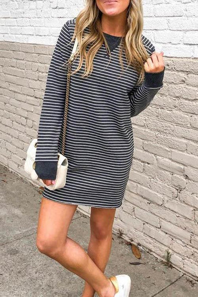 Casual Striped Black Mini Dress