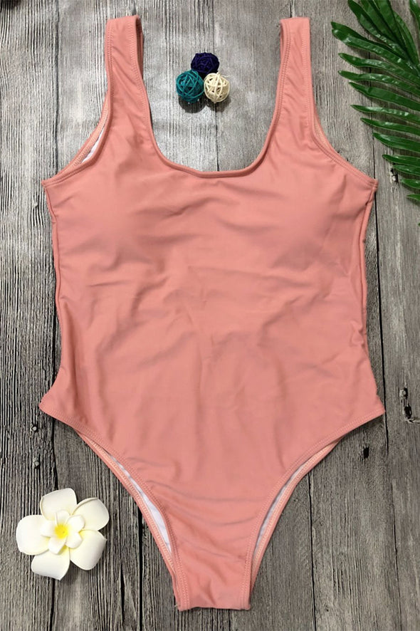 E&C Pink Shaping Scoop Low Back High Cut Sexy One Piece Swimsuit