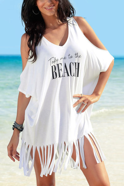 E&C White Cold Shoulder Fringe Letter Print T Shirt Dress Beach Cover Up