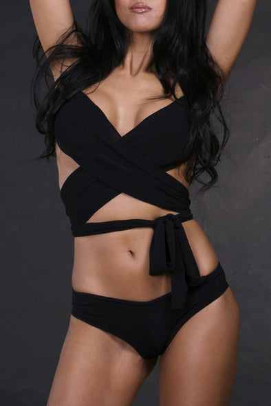 E&C Black Strappy Halter Wrap Around Sexy Bikini Two Piece Swimsuit
