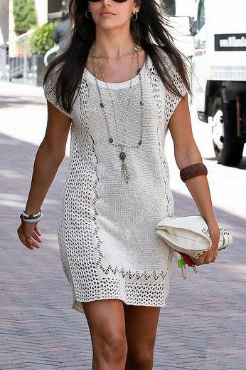 E&C White Knitted Crochet Cap Sleeve Hollow Out Beach Cover Up Dress