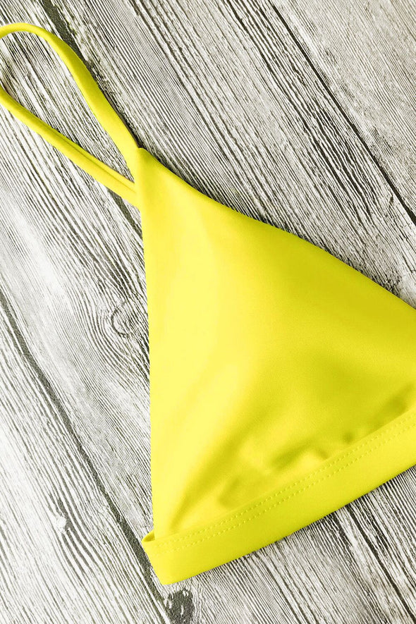 E&C Yellow Triangle Spaghetti Straps Thong High Cut Sexy Bikini Set