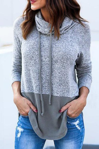 Hooded Collar Patchwork Pullovers