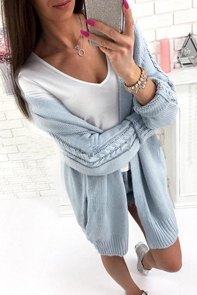 Casual Long Sleeves Long Cardigan