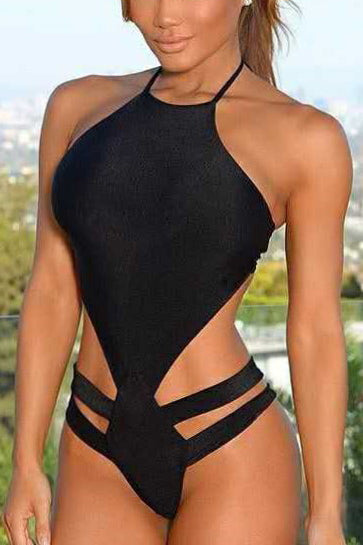 E&C Black High Neck Strappy Bandage Cutout Halter Sexy Monokini One Piece Swimsuit