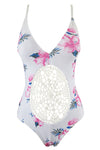E&C White Pink Floral Print Crochet Backless Sexy One Piece Swimsuit